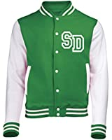 FRONT INITIAL STEP PERSONALISATION VARSITY JACKET (Kelly Green / White) NEW PREMIUM Unisex American Style Letterman College Baseball Custom Top Mens Womens Ladies Gift Present Quality AWD Personalised By 123t