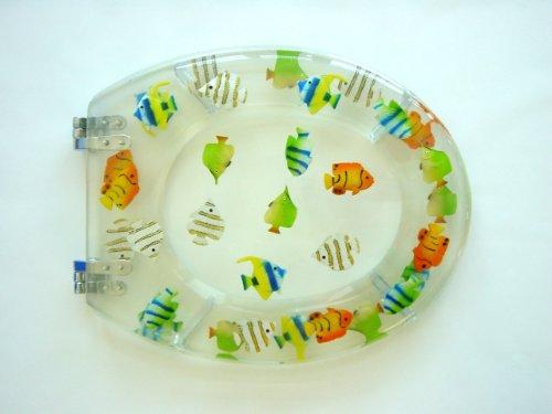 Adob 41341 Lunette WC en polyrésine Motif poissons Transparent
