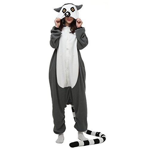 Casa Pyjama Tieroutfit Schlafanzug Tier Onesies Sleepsuit mit Kapuze Erwachsene Unisex Overall Halloween Kostüm Jumpsuit (Adult Halloween Kostüme Frauen)