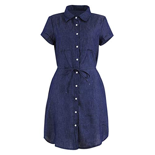 Younthone NEU Denim Blau Hemd Kleid Loose Button Damen Jeanskleid V-Ausschnitt Retro Denim Kleid Blusekleid Cocktail T Shirt Kleid Kurze Ärmel Knopf Sommerkleider (XL,Dunkelblau)