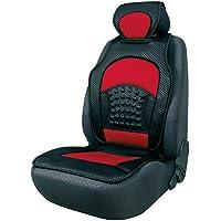 Walser 14143 Protector para asiento de coche, Negro/Rojo