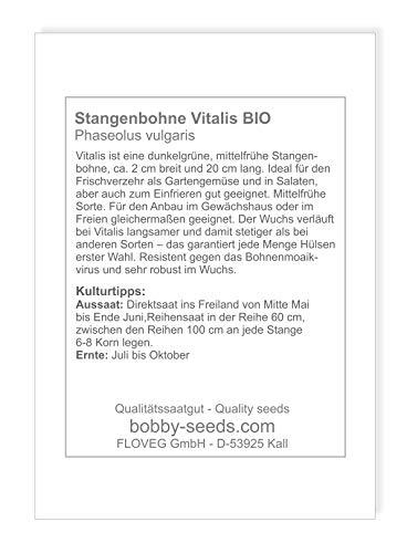 Bobby-Seeds BIO-Bohnensamen Vitalis Stangenbohne Portion