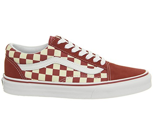 Racing Womens Schuhe (Vans OG Old Skool Primary Check Sneakers (US 11 D Men / 12.5 B Women, Racing Red/White))