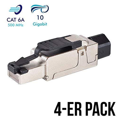 VESVITO 4 Stück Netzwerkstecker feldkonfektionierbar RJ45 CAT 6A geschirmt 10 GBit/s 500 MHz Ethernet werkzeuglos LAN Kabel CAT 7 Crimpstecker Steckverbinder Stecker Netzwerkkabel Verlegekabel - Stecker Keystone Jack