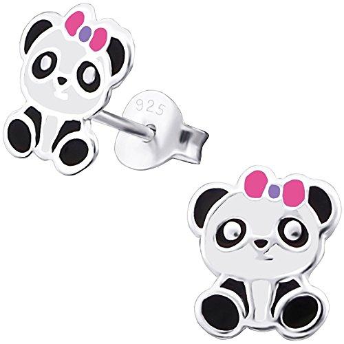 JAYARE Kinder-Ohrstecker Panda-Bär sitzend 925 Sterling Silber Emaille weiß schwarz pink 9 x 7 mm Mädchen-Ohrringe