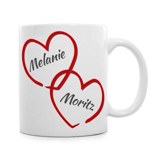 Tassenwerk - Romantische Tasse für Pärchen - Motiv: Verbundene Herzen - Personalisiert mit Namen - Geschenkidee zum Valentinstag und zur Hochzeit - Geschenk für Frauen und Männer