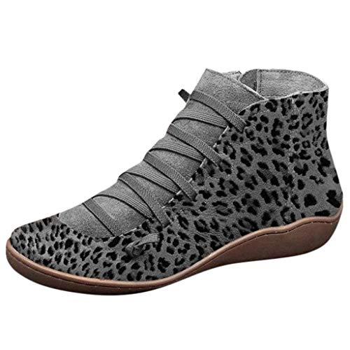 Scarpe Stivali Donna Casual Piatta Pelle retrò Stivali Allacciati Cerniera Laterale Punta Tonda Stampa Leopardo (35 EU,3- Grigio)