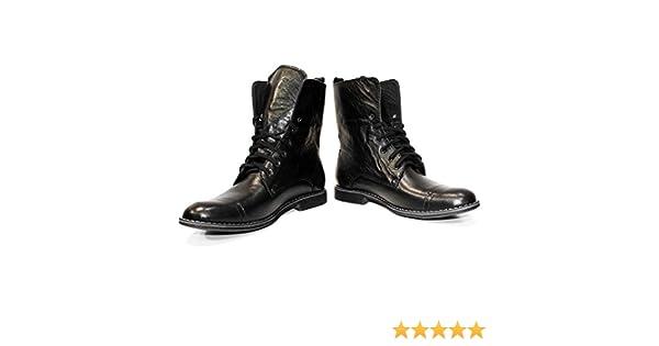 13548f09c148 PeppeShoes Modello Kamon - Handgemachtes Italienisch Leder Herren Schwarz  Hohe Stiefel - Rindsleder Weiches Leder - Schnüren  Amazon.de  Schuhe   ...