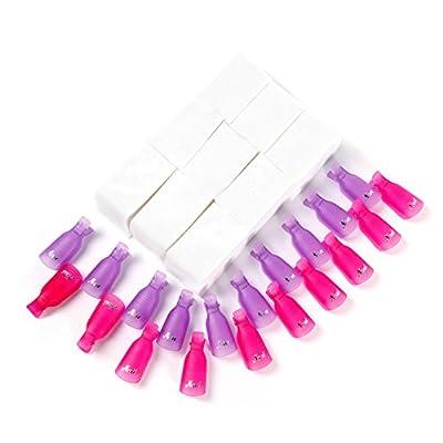 VOXURY Nail Cap Clips UV Gel Polish Remover Wrap 10 Pack Nail Art Soak Off Nail Tool (White)