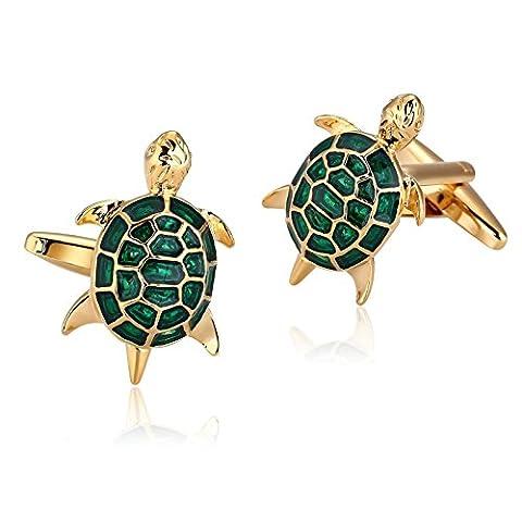 Anazoz Boutons de Manchette Homme Acier Inoxydable Or Vert Animal the Sea Turtles Bijoux Fantaisie Commerce Cadeau Anniversaire