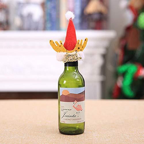 (SPFAZJ Tischdekoration Weihnachten Weihnachtsdekoration liefert Neue kreative Greis Bart Wein Flasche Cap Flügel Rotwein Bedecken S ET-Dress up)