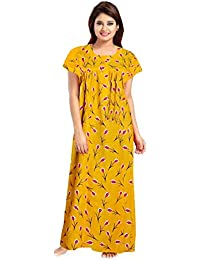 YUKATA Womens Cotton Printed Nighty, Free Size(Y.Y) Yellow