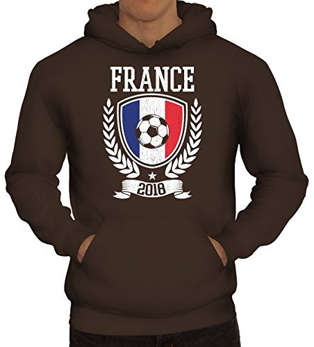 ShirtStreet Frankreich Fußball WM Fanfest Gruppen Fan Herren Hoodie Männer Kapuzenpullover Pokal France 2018, Größe: M,braun