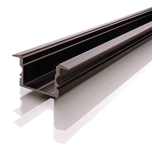 Reprofil ET-02-15 gran T-perfil para{15} - 16,3 mm LED Stripes, anodizado, 1000 mm, negro mate 975162