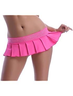 POLY Minifalda plisada, con tira de brillantes