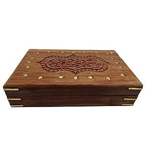Scatola di gioielli intarsio intaglio in legno, scatola di immagazzinaggio, scatola vintage, scatola Keepsake, scatola di gioielli per donna, 10 x 6 pollici, giorno di Pasqua / festa della mamma / regalo del Venerdì Santo