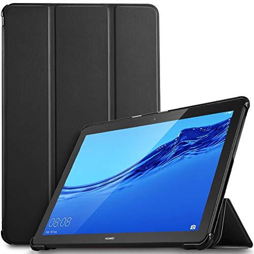 IVSO Hülle für Huawei MediaPad T5 10, Ultra Schlank Slim Schutzhülle Hochwertiges PU mit Standfunktion Perfekt Geeignet für Huawei MediaPad T5 10 10.1 Zoll 2018 Modell, Schwarz
