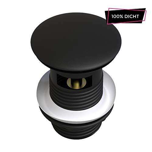 ATCO® PU18 mit Überlauf Pop-Up Ventil Ablauf Ablaufgarnitur Stöpsel Excenter Exzenter Abfluss Waschtisch Waschbecken Siphon Klick-Ventil schwarz