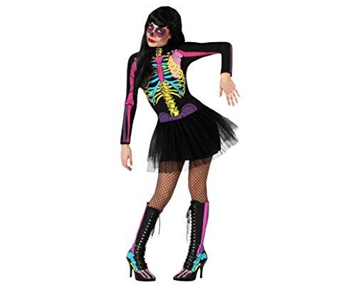 ATOSA 23421 - Skelett weibliches Kostüm, Größe XS-S, schwarz/bunt