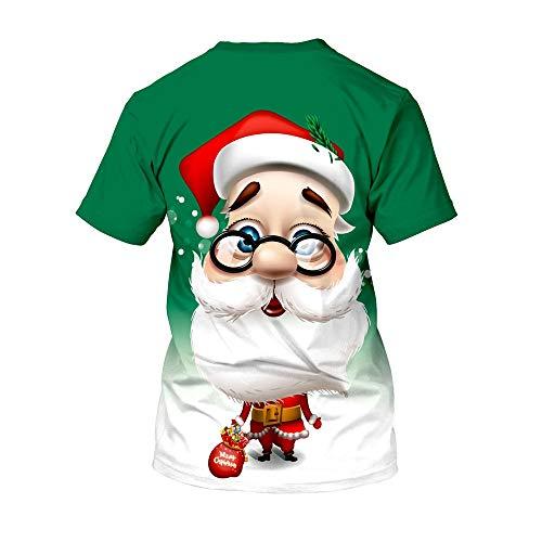ZHRUI Weihnachts-T-Shirt Lässiges Weiches Weihnachtsmann-Muster Breathable Comfort T-Shirt (Farbe : Grün, Größe : XXXL)