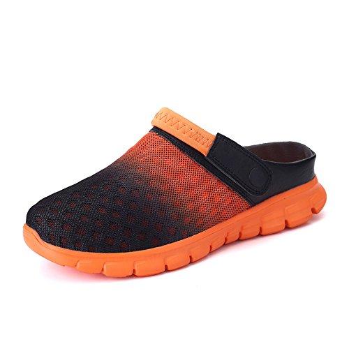 Damen Herren Clogs Sommer Hausschuhe Rutschfest Pantoletten Gartenschuhe Badeschuhe Strand Aqua Slippers Schwarz Blau Rot Weiß Grau 36-46 Orange 46