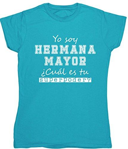 HippoWarehouse Yo Soy Hermana Mayor, ¿Cuál es tu Superpoder? Camiseta Manga Corta Ajustada para Mujer