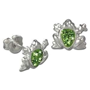 Teenie-Weenie Boucles d'oreilles - boucles d'oreilles grenouille vert - argent sterling 925 pour enfants - SDO8005L