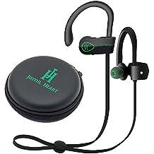 Joyful Heart (JH-800) Auriculares Bluetooth inalámbricos, deportivos, IPX7100% impermeable, sonido de primera calidad con graves, cancelación de ruido, diseño ergonómico, ajuste seguro, funda con cremallera, 7horas de autonomía, con micrófono