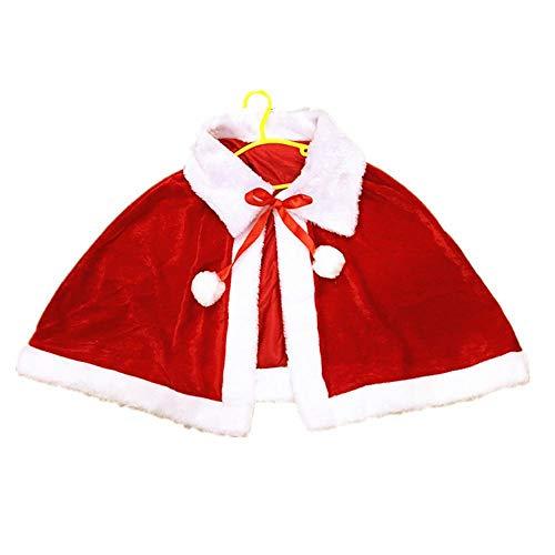SPFAZJ Santa Anzug Kostüm Weihnachten Kinder Schal Umhang für Jungen und Mädchen Weihnachten Leistung Cape Rot Weihnachten Schal Erwachsene (Anzug Jungen Santa)