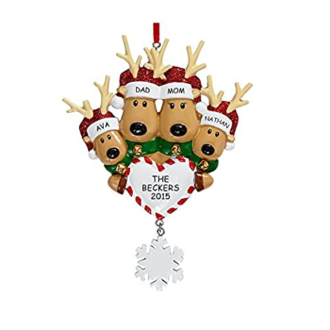 PERSONALISED REINDEER FAMILY OF 4 CHRISTMAS ORNAMENT BAUBLE TREE DECORATION:
