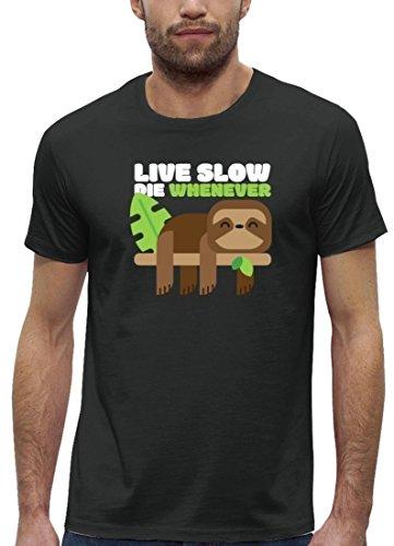 Faultier Premium Herren T-Shirt aus Bio Baumwolle Live Slow Die Whenever Stanley Stella Anthrazite
