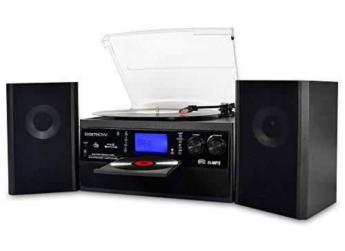 DIGITNOW! Plattenspieler mit Stereo Lautsprechern, Kompaktanlage Stützen Schallplattenspieler Bluetooth// CD / Kassette / Radio / Vinyl to MP3 USB-Codierung / 33 45 78 U/Min / Aux in