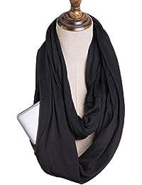Swiftswan Écharpe Infinity avec poche secrète zippée pour femmes filles -  Foulards de voyage extrêmement souples 461eca0e8f5
