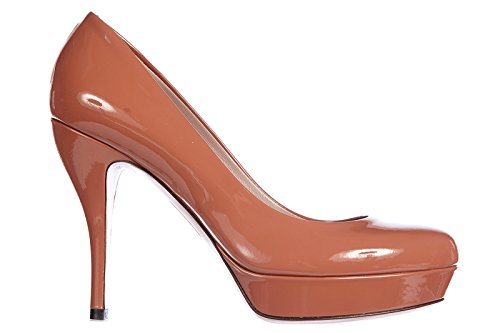 Gucci-Womens-Leather-Pumps-Court-Shoes-High-Heel-Crystall-Patent-Leather-Brown