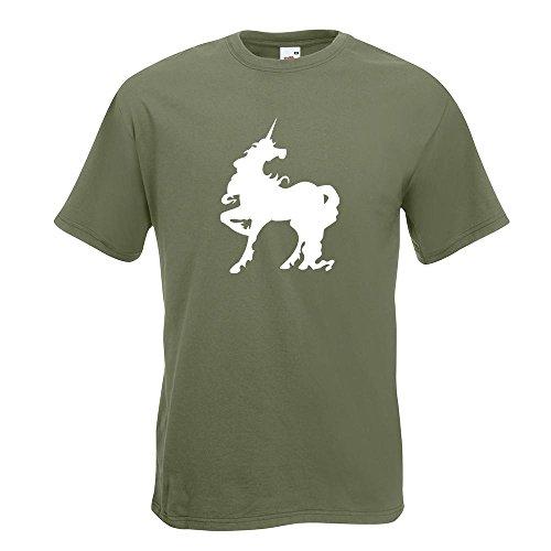 KIWISTAR - Einhorn T-Shirt in 15 verschiedenen Farben - Herren Funshirt bedruckt Design Sprüche Spruch Motive Oberteil Baumwolle Print Größe S M L XL XXL Olive