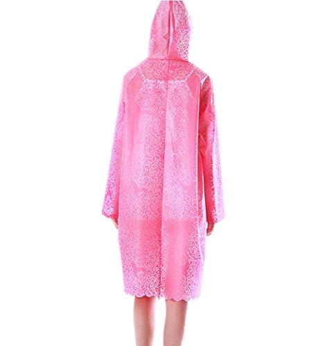 JDRAIN Raincoat Cape de Pluie Femme Portable Longue dentelle Manteau Imperméable Poncho à Capuche pour Voyage Camping Randonnée Vacances Rose