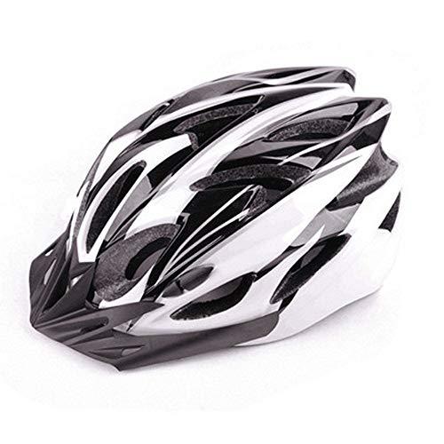 One-in-One Fahrrad-Rithelm, verstellbarer Riemen, für Erwachsene, mit abnehmbarem, schützendem und schweißabsorbierendem Futter, geeignet für Männer und Frauen (Schwarz-Weiß) -