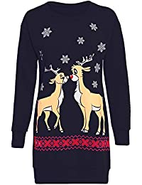 Oops Outlet Womens Christmas Sweatshirt Ladies Xmas Two Reindeer Print Fleece Knitted Long Dress Long Sleeve Jumper Oversized Baggy Mini Dress Top