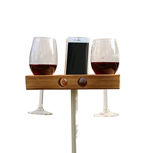 Handgemachte hölzerne Außenweinglashalter Telefon Dock / Lautsprecher HD26 (dunkles Holz)