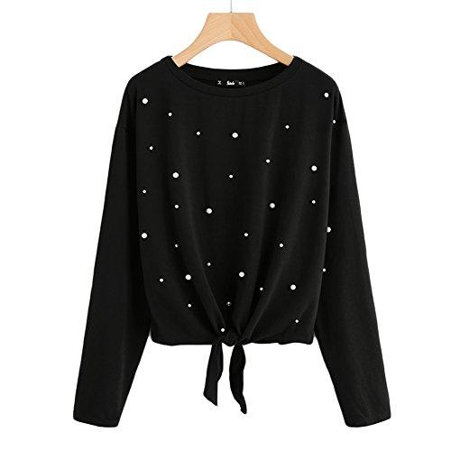 Damen Mode Pullover Herbst Winter Warm Sweatshirt mit Perlen Dekoration Elegant Lange Ärmel Shirt Casual Loose Jumper Oberteil (Pullover Kleidung)