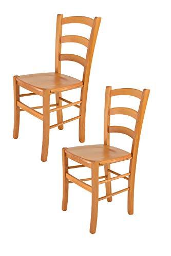 Tommychairs - set 2 sedie modello venice per cucina e sala da pranzo, con robusta struttura in legno di faggio verniciata color miele e con seduta in legno massello