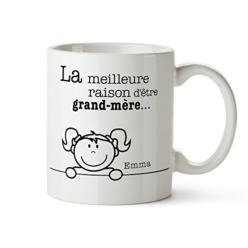 Tasse - Meilleures Raisons d'être Mamie - Mug personnalisé avec [Noms des Petits-Enfants] - Cadeaux pour Mamie - Idées Cadeau d'anniversaire et de Noel pour Mamie - Idée Cadeau Mamie