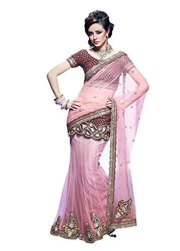 Viva N Diva Pink Color Net Lehenga saree for women designer latest design design  available at amazon for Rs.2799