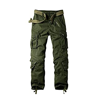Men's Cargo Regular Trouser Army Combat Work Trouser Workwear Pants With 8 Pocket #3357 Army Green 44