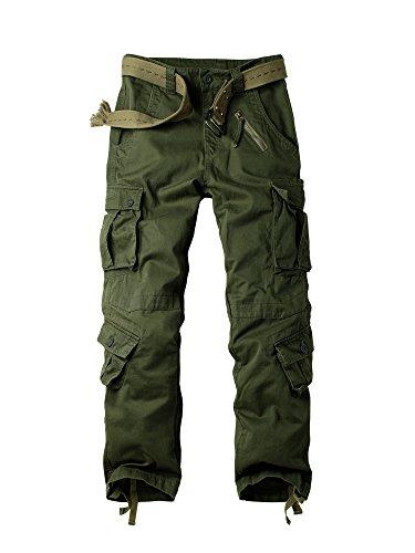 OCHENTA Herren Freizeithose Wasserwäsche Cargohose mehrere Tasche aus Baumwolle Loose-Fit #3357 Army Green