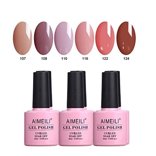 AIMEILI Set Smalto Semipermente UV LED per Manicure Smalti per Unghie in Gel Soak Off Colorati Set 6 x 10 ml - Set Numero 30