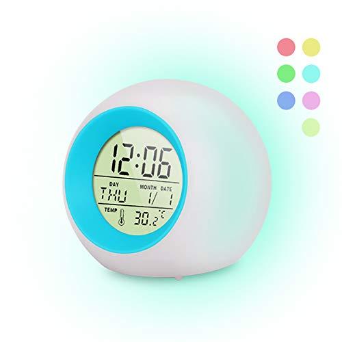 FAPPEN Wecker Kinder, 7 Farben ändern Lichtwecker LED für Kinder, 6 Klingeltöne, One-Tap-Control, Interne Anzeige, Uhrzeit, Woche, Datum und Temperatur Kinder