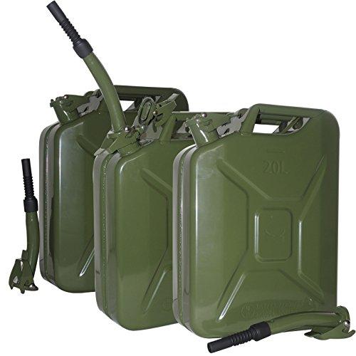 Baumarktplus 3X Metallkanister 20l Benzinkanister Kanister + Ausgießer flexibel Oliv grün TrutzHolm® by