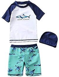 7e4ca4454 Baywell Traje de Baño para Niños Bebé 3 Piezas Tiburón Impreso Manga Corta  Trajes de Baño
