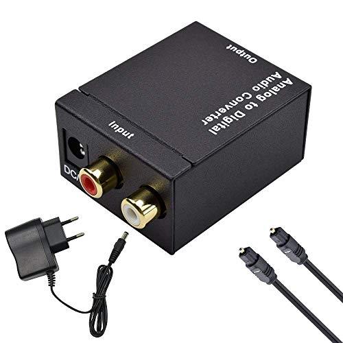 Analog zu Digital Audio Konverter, Ozvavzk RCA to Optical Toslink SPDIF Coaxial Audiowandler Converter mit Netzteil 5V/DC und Toslink kabel